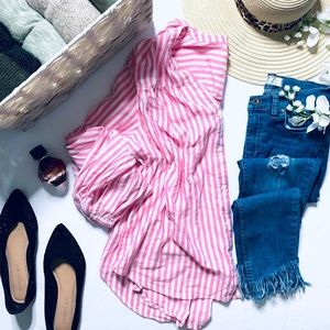 Old Navy pink pinstripe button up